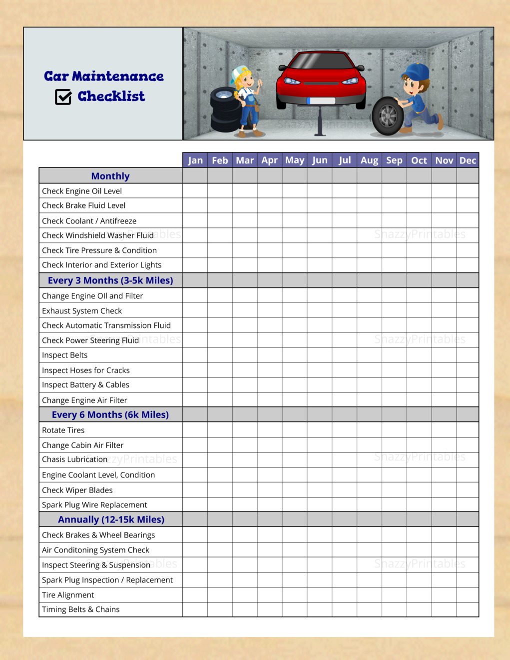 Car Maintenance Checklist Printable - Instant Download PDF