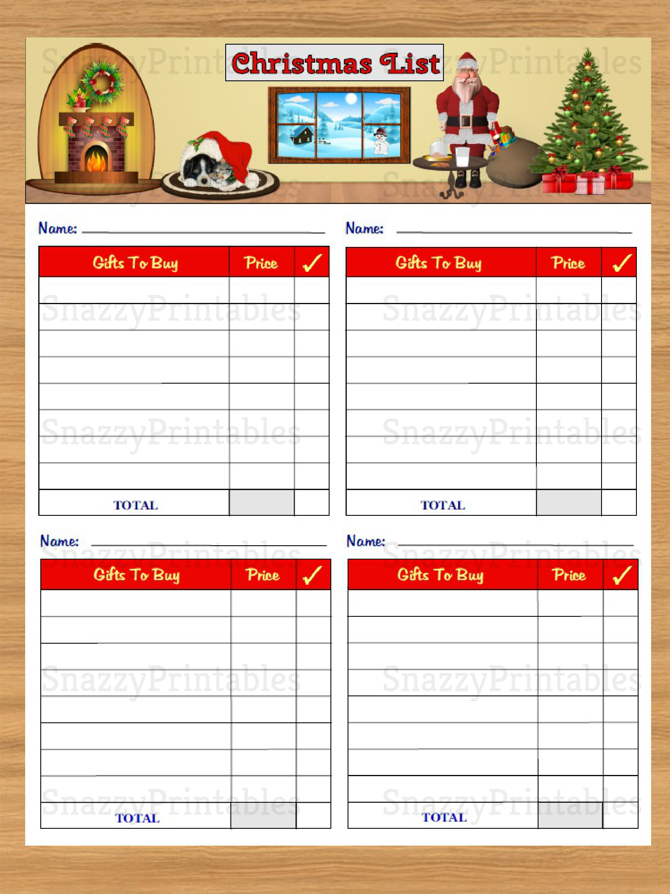 Christmas Gift List Printable - Instant Download PDF