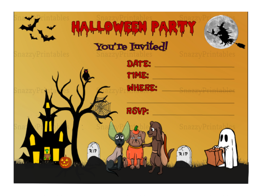 Halloween Party Invitation Printable 1 - Instant Download PDF