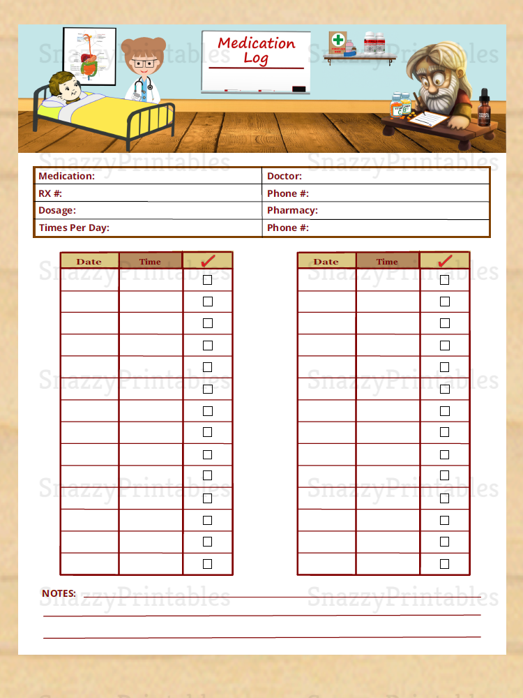 Medication Log Printable - Instant Download PDF