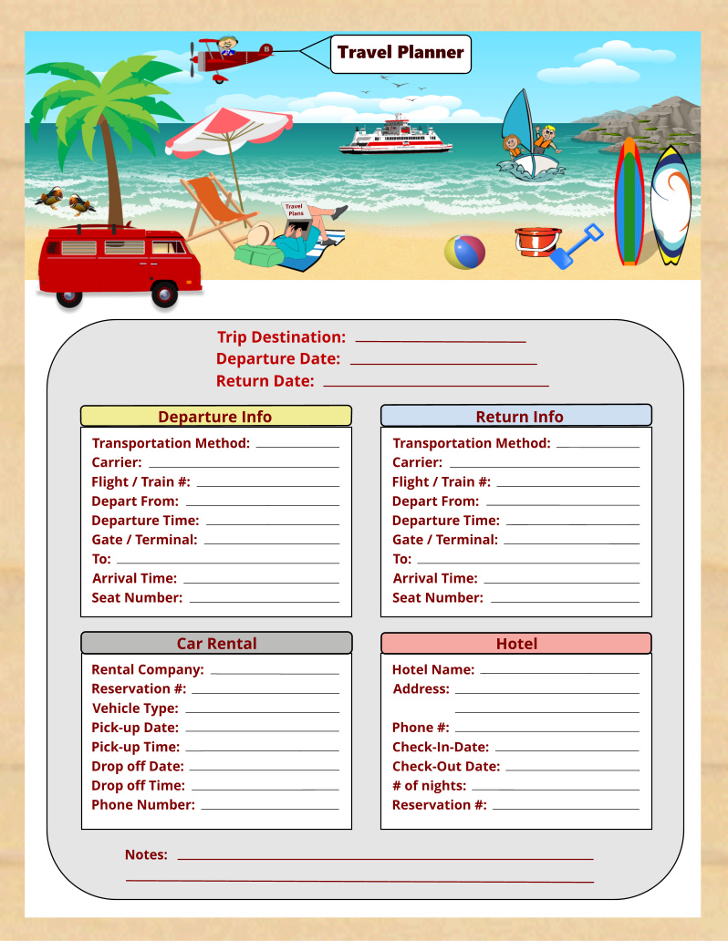Travel Planner Printable - Instant Download PDF
